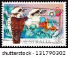 AUSTRALIA - CIRCA 1990: a stamp printed in the Australia shows Kookaburras, Kingfisher Bird, Christmas, circa 1990 - stock photo