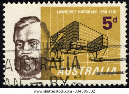AUSTRALIA - CIRCA 1965: A stamp printed in the Australia shows Lawrence Hargrave and Sketch for 1902 Seaplane, Aviation Pioneer, circa 1965 - stock photo