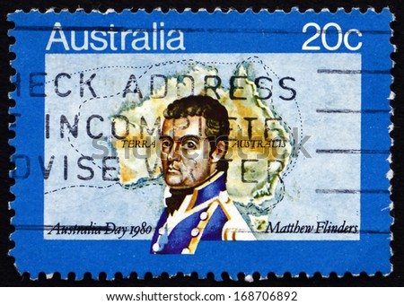 AUSTRALIA - CIRCA 1980: a stamp printed in the Australia shows Matthew Flinders, Navigator and Cartographer, Map of Australia, Australia Day, circa 1980