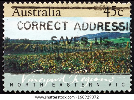 AUSTRALIA - CIRCA 1992: a stamp printed in the Australia shows North Eastern Victoria, Vineyard Region, circa 1992 - stock photo