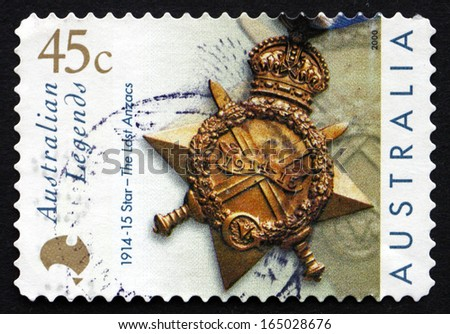 AUSTRALIA - CIRCA 2000: a stamp printed in the Australia shows Star, The Last Anzacs, Alexander William Campbell, circa 2000 - stock photo