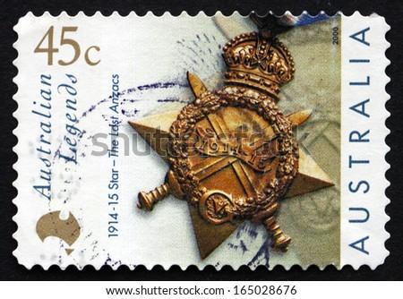 AUSTRALIA - CIRCA 2000: a stamp printed in the Australia shows Star, The Last Anzacs, Alexander William Campbell, circa 2000 - stock photo