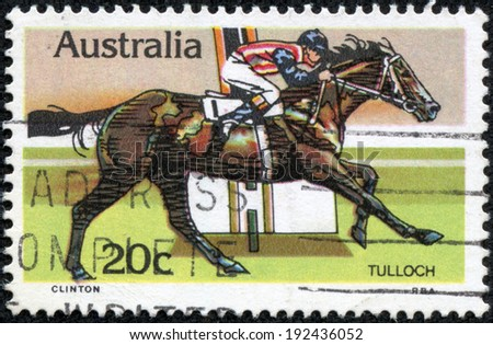 AUSTRALIA - CIRCA 1978: a stamp printed in the Australia shows Tulloch, Race Horse, Australian Horse Racing, circa 1978