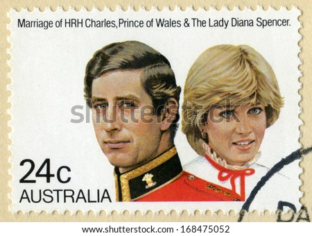 AUSTRALIA - CIRCA 1981: A vintage Australian postage stamp celebrating the marriage of Prince Charles and Lady Diana Spencer, circa 1981. - stock photo