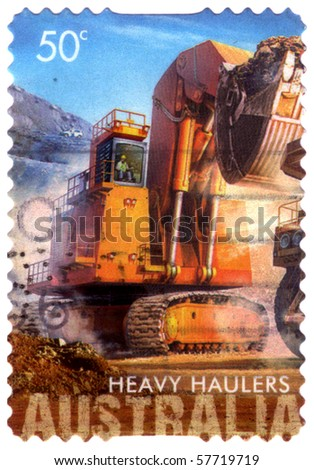 AUSTRALIA - CIRCA 2008 :  an Australian postal stamp canceled depicting  heavy haulers machinery mining, CIRCA 2008