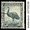 AUSTRALIA - CIRCA 1942: An Australian Used Postage Stamp showing an Emu, circa 1942 - stock photo