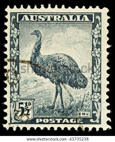 AUSTRALIA - CIRCA 1942: An Australian Used Postage Stamp showing an Emu, circa 1942 - stock photo