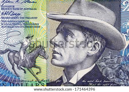 AUSTRALIA - CIRCA 2007: Banjo Paterson (1864-1941) on 10 Dollars 2007 Banknote from Australia. Australian bush poet, journalist and author. - stock photo