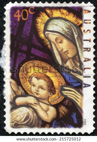 AUSTRALIA - CIRCA 1995: Postage stamp printed in Australia, Christmas Issue, shows Stained glass windows, Our Lady Help of Christians Church, Melbourne: Madonna and Child, circa 1995