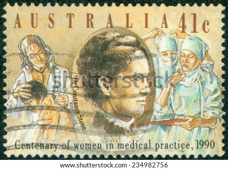 AUSTRALIA - CIRCA 1990: Postage stamp printed in Australia, dedicated to the 100th anniversary of Women Practicing Medicine, shows Dr. Constance Stone, Australia's first woman doctor, circa 1990 - stock photo