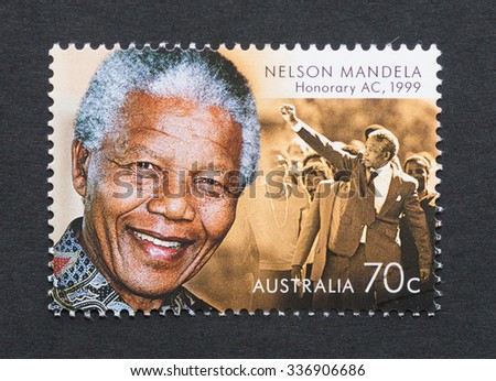 AUSTRALIA - CIRCA 2015: postage stamp printed in Australia showing an image of Nobel Peace prize winner Nelson Mandela, circa 2015.   - stock photo