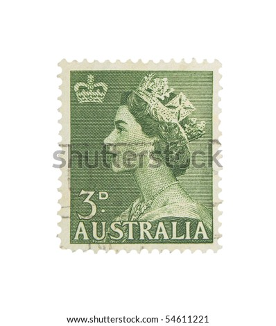 AUSTRALIA - CIRCA 1950s: A stamp printed in Australia showing queen Elisabeth II., circa 1950s