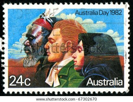AUSTRALIA - CIRCA 1982: stamp printed by Australia, shows Australian people, circa 1982 - stock photo