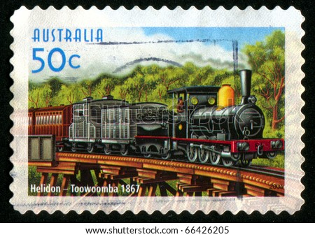 AUSTRALIA - CIRCA 2004: stamp printed by Australia, shows Australian steam locomotives, circa 2004 - stock photo