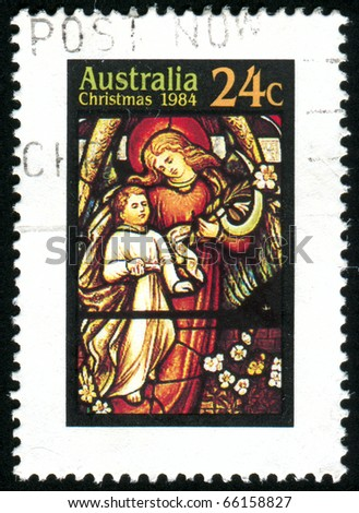 AUSTRALIA - CIRCA 1984: stamp printed by Australia, shows Madonna and Child, circa 1984 - stock photo