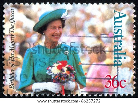 AUSTRALIA - CIRCA 1987: stamp printed by Australia, shows Queen Elizabeth II, circa 1987 - stock photo