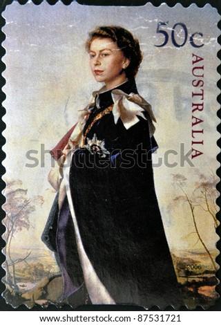 AUSTRALIA - CIRCA 2006: stamp printed by Australia, shows Queen Elizabeth II, circa 2006 - stock photo