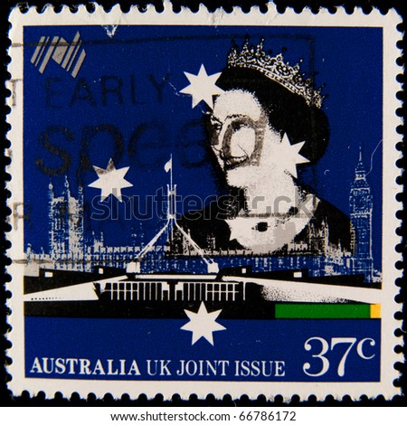 AUSTRALIA - CIRCA : stamp printed by Australia, shows Queen Elizabeth II, circa 1990-th - stock photo