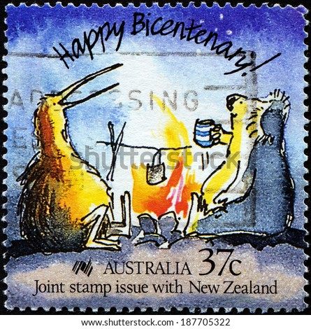 AUSTRALIA - CIRCA 1988: Stamp printed in Australia showing Happy Bicentenary with funny  Caricature of an Australian koala and New Zealand kiwi, circa 1988 - stock photo