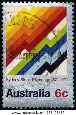 AUSTRALIA - CIRCA 1971: stamp printed in Australia shows Symbolic Market Graphs, Sydney Stock Exchange, circa 1971 - stock photo