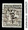 AUSTRALIA - CIRCA 1950-th: A stamp printed in Australia shows Mercury - the god of commerce, circa 1950-th - stock photo