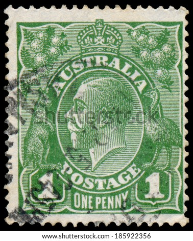 AUSTRALIA - CIRCA 1924: Three half pence red stamp printed in Australia with the portrait of English King George V, circa 1924.