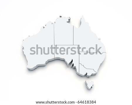 Australia 3D map on white isolated - stock photo