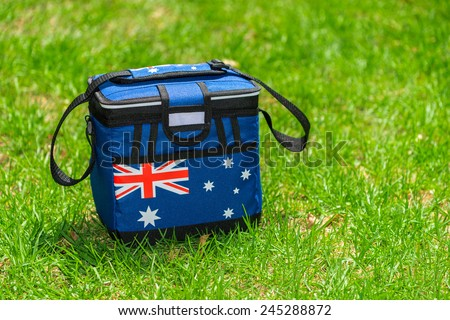 Australia day colored cooler box standing on the grass - stock photo