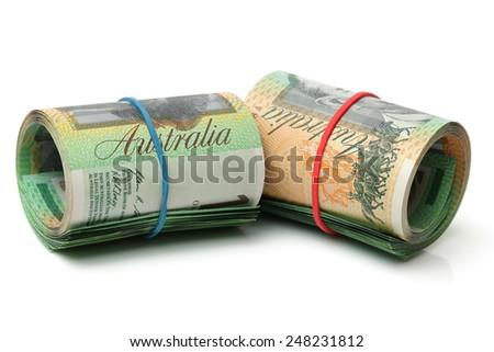 Australia Dollar, Bank note of Australia on white background - stock photo