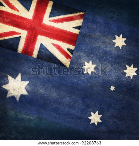 Australia  flag drawing ,grunge and retro flag series