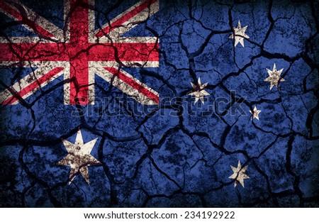 Australia flag pattern on the crack soil texture ,retro vintage style - stock photo