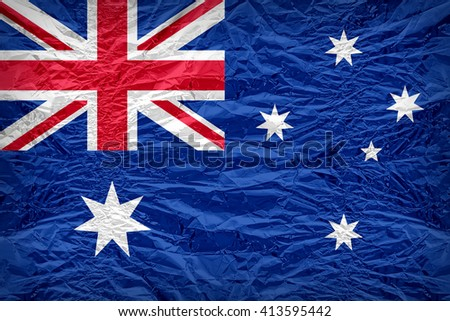 Australia flag pattern overlay on floyd of candy shell, vintage border style - stock photo