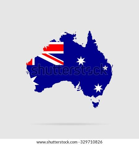 Australia flag. Silhouette - stock photo
