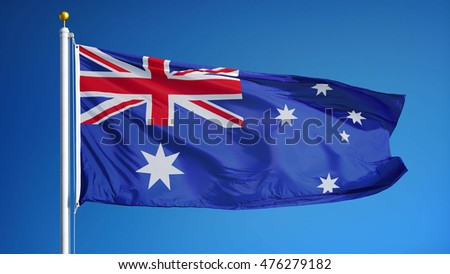 Australia flag waving against clean blue sky, close up, isolated with clipping mask alpha channel transparency