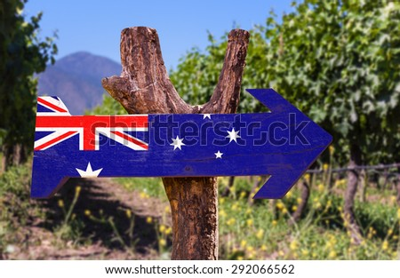 Australia Flag wooden sign with winery background - stock photo