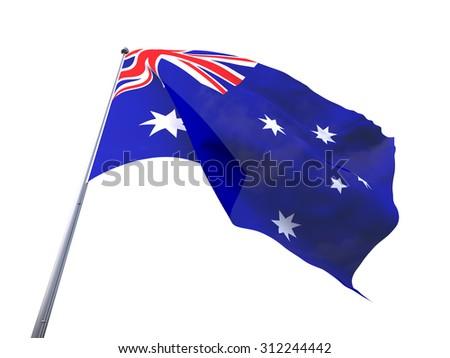 Australia flying flag isolate on white background. - stock photo