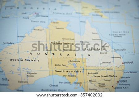 Australia close on map focus on stock photo royalty free 357402032 australia in close up on the map focus on the name of country gumiabroncs Images
