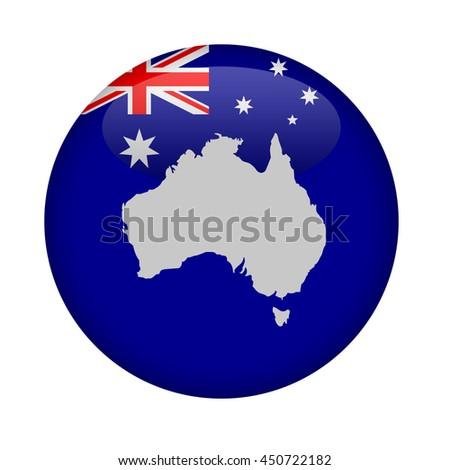 Australia map button on a white background. - stock photo