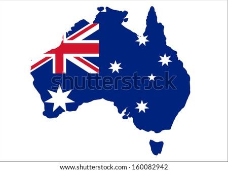 australia map flag - stock photo