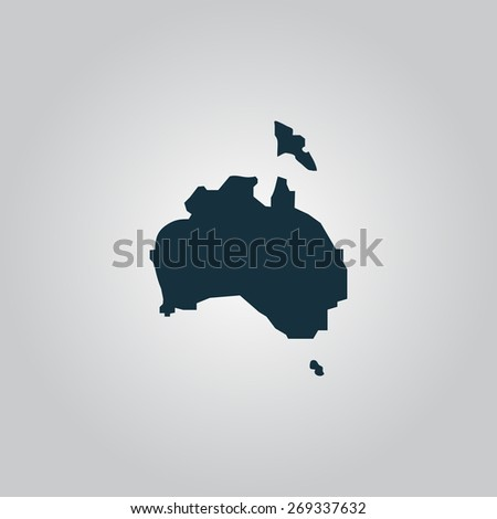 Australia map. Flat web icon, sign or button isolated on grey background. Collection modern trend concept design style illustration symbol - stock photo