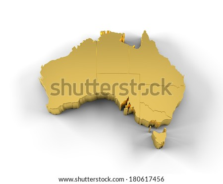 Australia map in gold with states and including a clipping path. High quality 3D illustration.  - stock photo