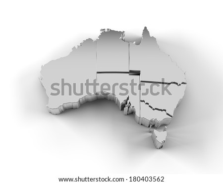 Australia map in silver with states stepwise arranged and including a clipping path. High quality 3D illustration.  - stock photo