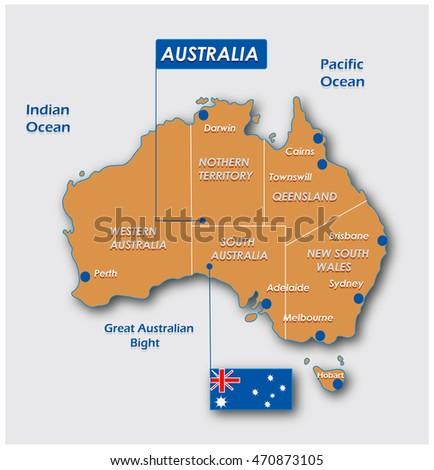 Australia Map Administrative Division Stock Illustration 470873105
