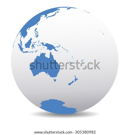Australia, New Zealand, South Pole and the Pacific Ocean - Raster Version - Icon of the World Globe - stock photo