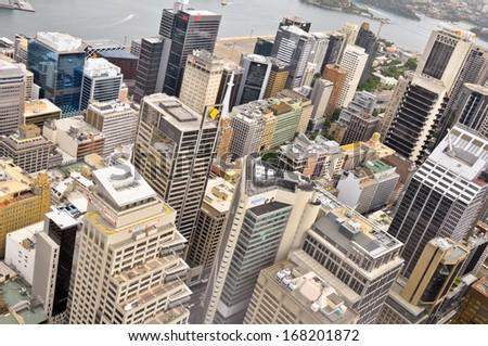 AUSTRALIA - NOVEMBER 16: Downtown Sydney, Australia from Sydney Tower. - stock photo