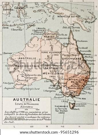 Australia old map. By Paul Vidal de Lablache, Atlas Classique, Librerie Colin, Paris, 1894 - stock photo
