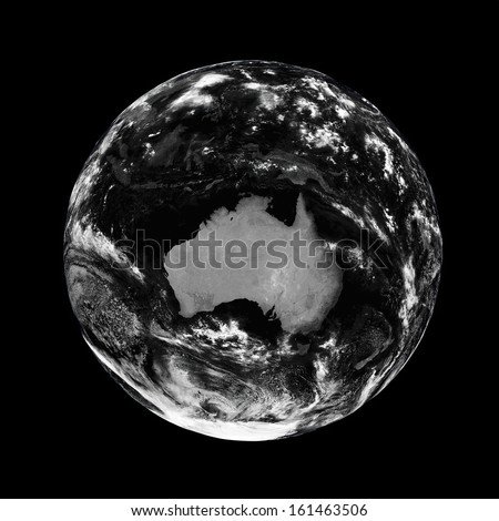 Australia on black planet Earth isolated on black background. Elements of this image furnished by NASA.