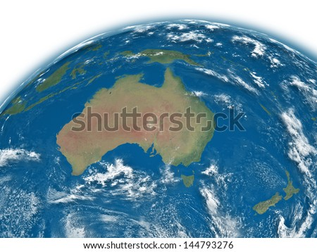 Australia on blue planet Earth isolated on white background. Elements of this image furnished by NASA.