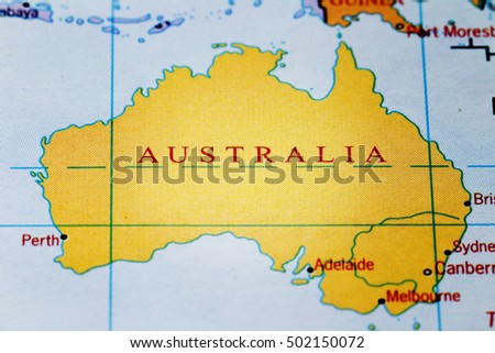 Australia on colourful map