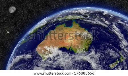 Australia on planet Earth from space with Moon and stars in the background. Elements of this image furnished by NASA. - stock photo